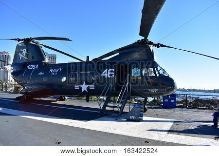San Diego, California - Usa - Dec 04,2016 - Navy Helicopter 46  Uss Midway Museum