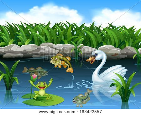 Vector illustration of Cute swan swimming on the pond and frog