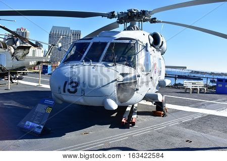 San Diego, California - Usa - Dec 04,2016 - Navy Helicopter H-60 Seahawk