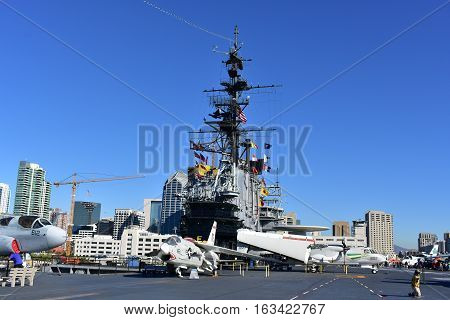 San Diego, California - Usa - Dec 04,2016 - Uss Midway Museum And Skyline View Of San Diego