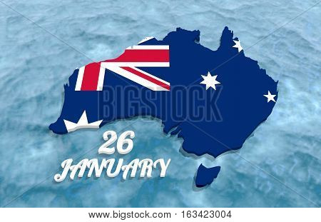 Map of Australia textured by national flag. 26 January text. 3D rendering