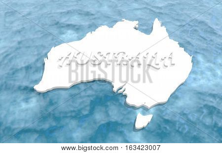 Map of Australia washed by ocean. Australia text. 3D rendering