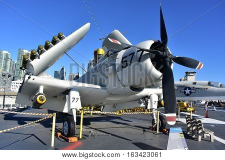 San Diego, California - Usa - Dec 04,2016 - A1 Sky Raider Attack Uss Midway Museum