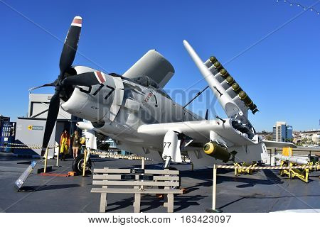 San Diego, California - Usa - Dec 04,2016 - Sky Raider Attack Uss Midway Museum