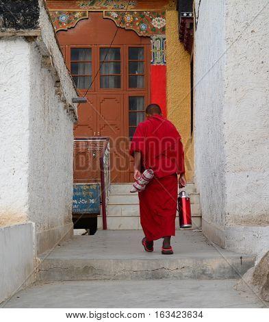 Tibetan Monk At Monastery In Ladakh, India