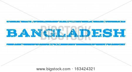 Bangladesh watermark stamp. Text caption between horizontal parallel lines with grunge design style. Rubber seal stamp with dirty texture. Vector blue color ink imprint on a white background.