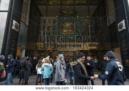 NEW YORK NEW YORK - DECEMBER 19: Entrance to Trump Tower on 56th street and 5th avenue in Manhattan. Taken December 19 2016 in New York City.