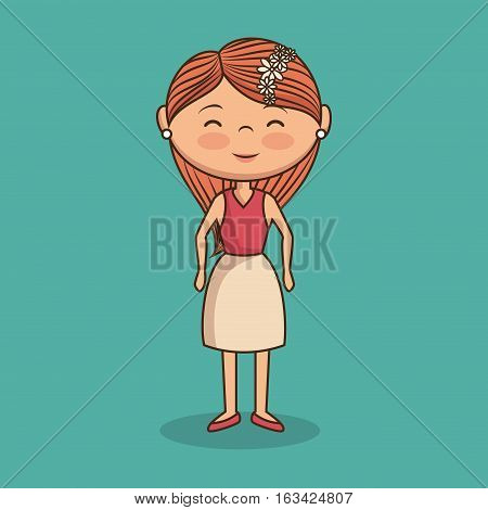 beautiful lady character icon vector illustration design