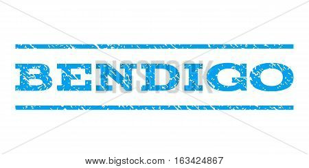 Bendigo watermark stamp. Text caption between horizontal parallel lines with grunge design style. Rubber seal stamp with unclean texture. Vector blue color ink imprint on a white background.