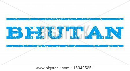 Bhutan watermark stamp. Text tag between horizontal parallel lines with grunge design style. Rubber seal stamp with dirty texture. Vector blue color ink imprint on a white background.