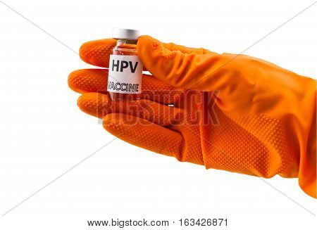 Bottle vaccine of Human papillomavirus (HPV) vaccine in red glove of doctor on white background.Saved with clipping path.