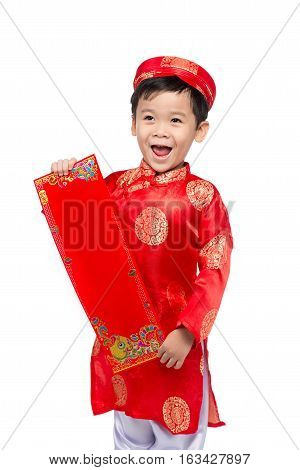 Vietnamese Boy Kid Congratulating With His New Year. Happy Lunar New Year.
