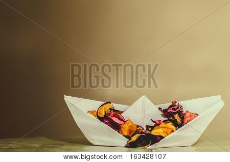 paper boat Origami paper boat with colors .