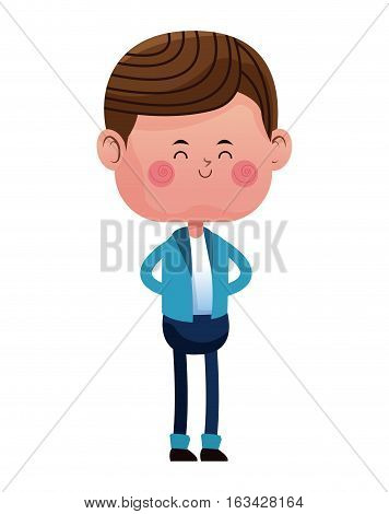 standing boy with blue pants jacket closed eyes vector illustration eps 10