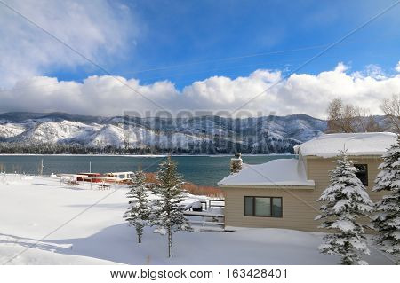 Winter over Vallecito Lake in Bayfield, CO