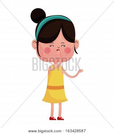 girl happy closed eyes with  diadem vector illustration eps 10