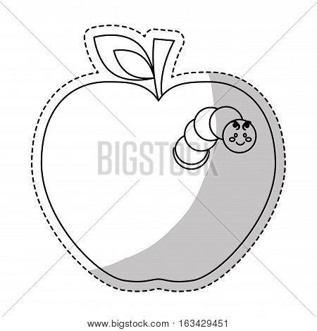 apple fruit with worm icon over white background. vector illustration