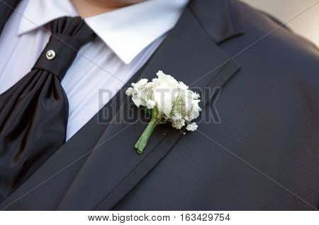 Brooch With Flowers For The Groom's Jacket