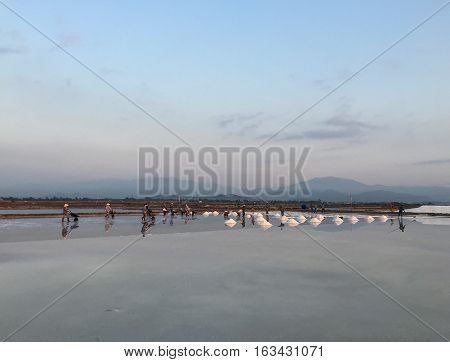 Salt Fields With Mountains Background