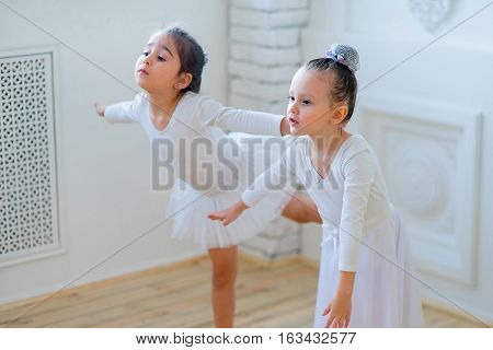 Two Young Ballet Dancers Learning The Lesson