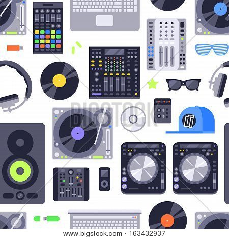 DJ music seamless pattern. Music concept background made with icons. Includes dj, rock, club and audio elements. Melody record headphones vector wallpaper musical disco design.