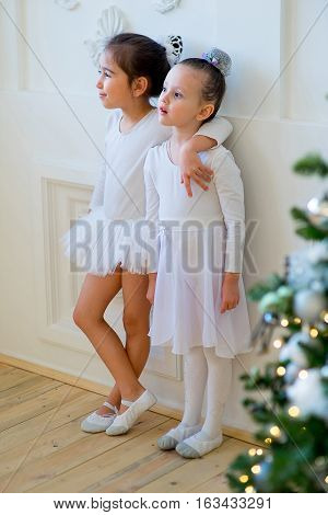 Two Young Ballet Dancer Hug Near Christmas Tree