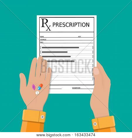 hand with prescription and pills. Healthcare, hospital and medical diagnostics concept. vector illustration in flat style