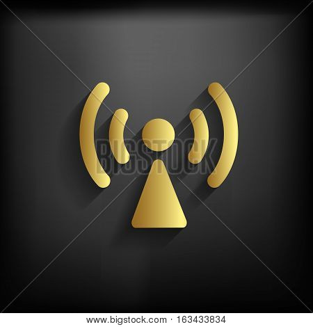 Wireless Network Sign Icon Gold Color With Long Shadow, Eps10 Illustration