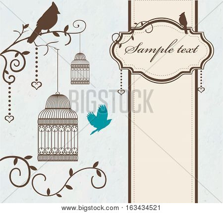 Vintage bird cage with tree branches and birds. Invitation template. Vector illustration