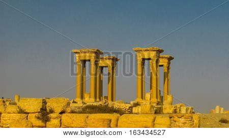 Panorama of Palmyra columns and ancient city destroyed by ISIS Syria