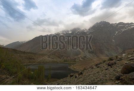 Gilgit River and lake Gilgit-Baltistan Province Pakistan