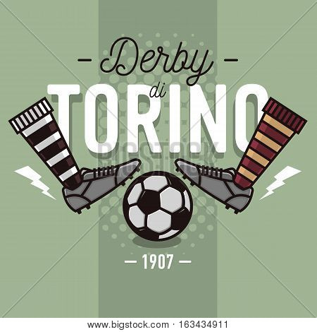Torino Derby In Italian Label Design. Soccer Boots And Ball Flat Thin Line Illustration.  Vector Graphic.
