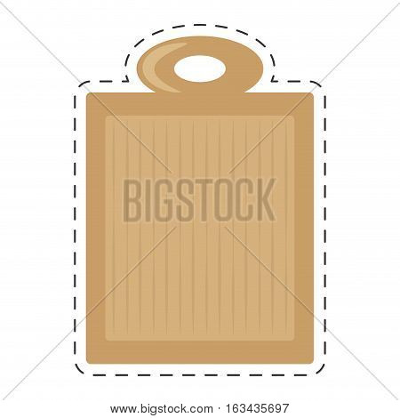 wooden cutting board kitchen and cooking utensils cut line vector illustration eps 10