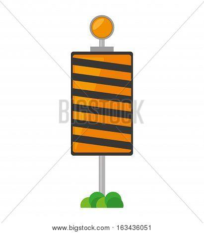 roadblock traffic light warning with grass vector illustration eps 10