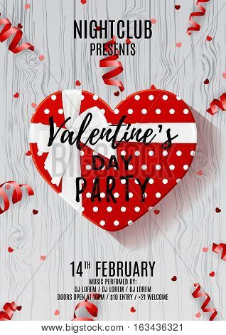 Party flyer for Valentine's Day. Beautiful poster with red gift box in the form of heart. Vector illustration with serpentine and confetti on wooden textore. Invitation to nightclub.