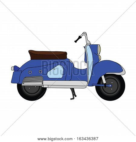 Flat blue old vintage retro moped scooter.
