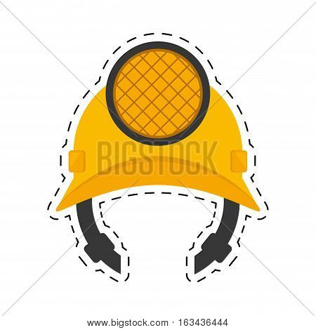 helmet mining light protection cut line vector illustration eps 10