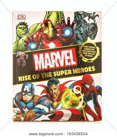 SWINDON UK - DECEMBER 27 2016: MARVEL Rise Of The Super Heroes on a white background