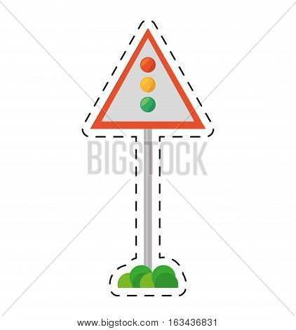 sign road light traffic white background cut line vector illustration eps 10