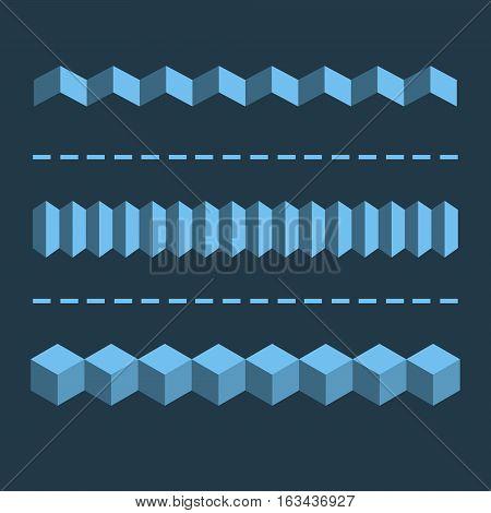 3-D Horizontal Linear Dividers, Borders. Geometric Flat Design Elements. Vector Graphics.