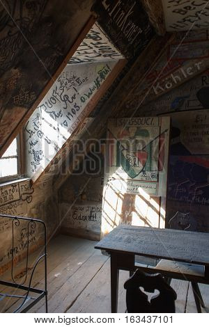 HEIDELBERG, GERMANY - MAR 29, 2014: Room of old student prison of the university in Heidelberg.
