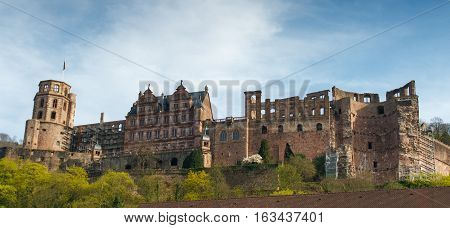 HEIDELBERG, GERMANY - MAR 29, 2014: Castle of Heidelberg in Spring, Southern Germany.