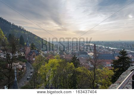 HEIDELBERG, GERMANY - MAR 29, 2014: Heidelberg Castle at sunset. The medieval castle of Heidelberg, Southern Germany.