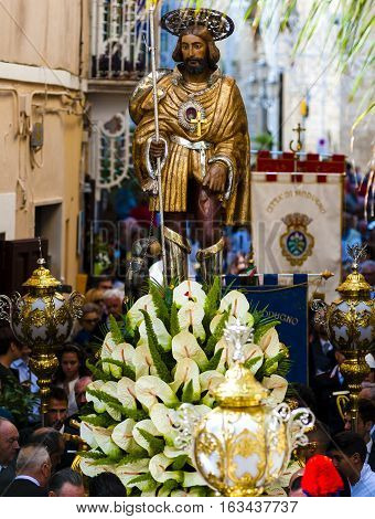 Modugno September 25 2016 - ITALY: Religious statue of San Rocco in procession through the streets of Modugno Puglia. Italy