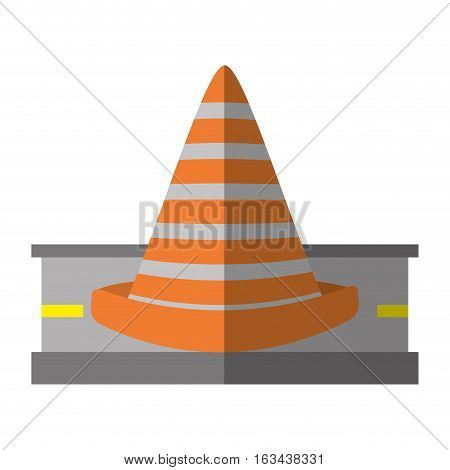 cartoon road cone caution sign vector illustration eps 10