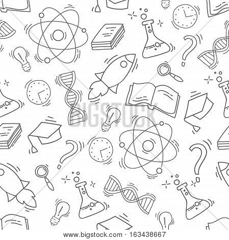 Hand Drawn Science seamless pattern. Chemistry sketch background with icons. Monochrome doodle backdrop. Wallpaper with science elements and objects
