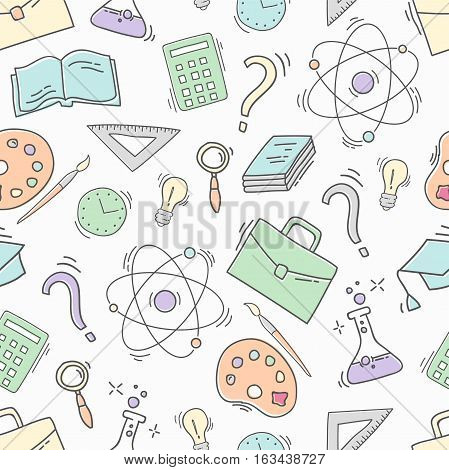 Hand Drawn Study seamless pattern with school accessories. Sketch background with icons. Colorful doodles illustration. Wallpaper with school elements and objects. Back to school.