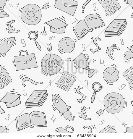 Hand drawn business seamless pattern. Sketch background with icons. Monochrome doodle illustration. Wallpaper with elements and objects. Vector illustration