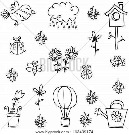Doodle of spring set collection stock illustration