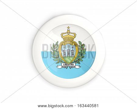 Flag Of San Marino, Glossy Round Button